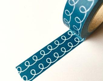 Washi Tape - Dark Teal Rope  - Masking Tape - 1.5cm x 10yd (9.1m)