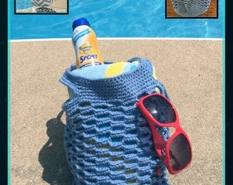 Crochet Beach/Market Bag Handmade Blue