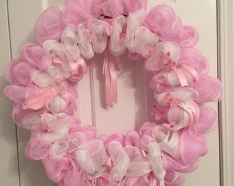 Baby Shower//Bridal Shower//Little Girl Door Wreath//Pretty in Pink