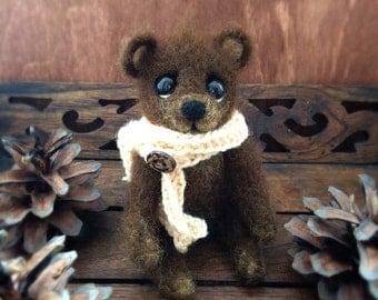 Little bear, needle felted toy