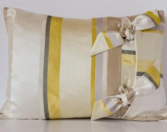 Yellow/Cream/Grey Striped Cushion, Decorative Pillow Cushion, Striped Cushion, Yellow Cushion, 17x13 inch Cushion