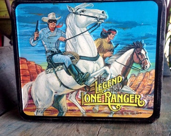 The Legend of the Lone Ranger Vintage Metal Lunchbox | Lone Ranger Lunchbox | 1980s Metal Lunchbox