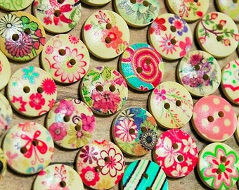 Wood Buttons Floral Assortment-50 Painted -wood buttons-colorful buttons-Assorted button set- novelty buttons