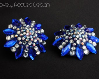 """The """"Around the Pole"""", blue and crystal burlesque pasties nipple tassel"""