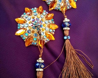 """The """"Sinderella"""" : blue hues and gold burlesque pasties nipple tassels"""