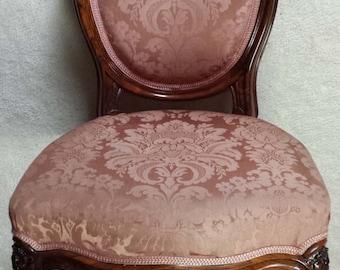 Antique Chair (Ladies), Circa 1860, Louis Philippe, Mahogany, Carved, German