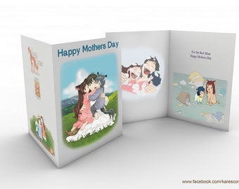 Wolf Children inspired Mother's Day Card