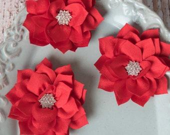 Red lotus flowers, flower supplies, poinsettia flowers, kanzashi flowers, craft supplies, large flowers, winter flowers, headband supplies