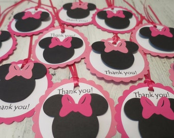 Minnie Mouse Thank You Tags, FREE US SHIPPING, Set of 12, Minnie Mouse Theme Party, Thank You Tags, Favor Tags