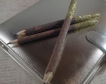 Glitter topped natural pencils, set of three hand glittered wooden twig pencils