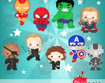 Voucher code buy1get1 Superheroes Team Clipart for Personal Use / INSTANT DOWNLOAD