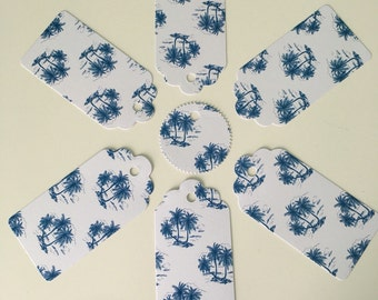 x12 Handmade Tropical glitter Gift Tags