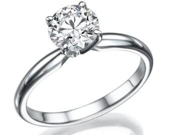 Solitaire Round Brilliant Diamond Engagement ring, 3.00Ct 14K White Gold