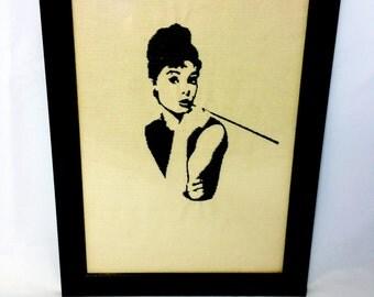 Audrey Hepburn Embroidered Artwork Framed