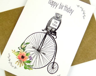 Owl Print Birthday Card