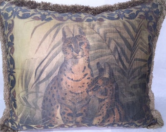 Hand Painted on  Silk Cerval Cats from Africa