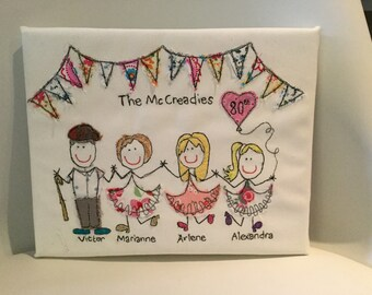 Personalised family portrait - commisioned embroidery maximum 5 people including pets 8x10 inches