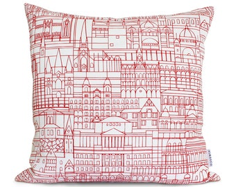 Cushion Cover - Melbourne Cityscape Red on White - Screen Printed Linen, Hand Printed