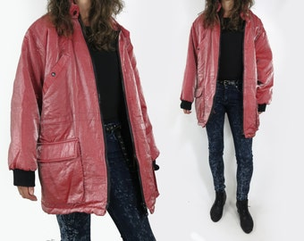 Reserved! Red Shimmery Iridescent Parka / Jacket Size Large