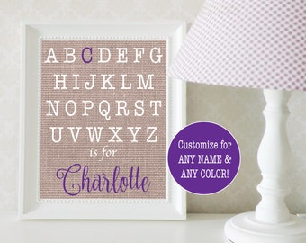 Alphabet Nursery Art Girl; Baby Name Sign; Personalized Baby Gift for Girl; Alphabet Nursery Decor; Baby Shower Gift; Alphabet Print