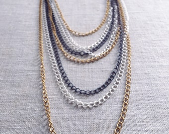 Multi Metal Layered chain necklace