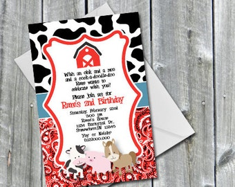 Down on the Farm Barnyard Birthday or Baby shower Invitation