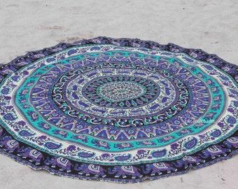 Roundie / Round fabric with Elephants - Beach, Yoga, Dorm, College- Tapestry Bohemian Boho