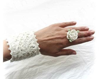 Crochet Silk Venetian Square Cuff Bracelet, Ecru Cream Lace Knitted Cuff Bracelet, Crocheted Bracelet, Bridal Crochet Bracelet