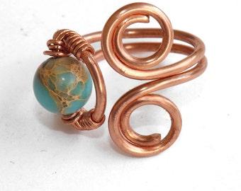 Ring copper wire spirals with aqua terra jasper
