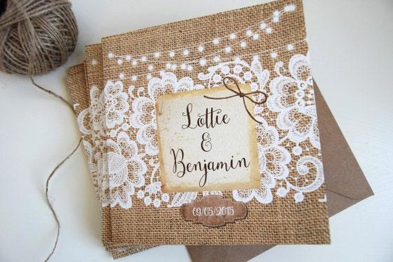 Rustic Burlap & Lace Wedding Invitation Sample