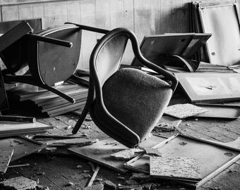Flipped Chairs Photography Print - Multiple Sizes - Archival Metallic Print