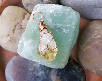Citrine Quartz Crystal Wire Wrapped Necklace