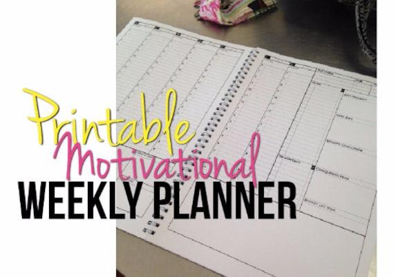weekly planner printable motivational planner diary week
