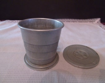 Vintage tin Fold up Shot Glass with lid