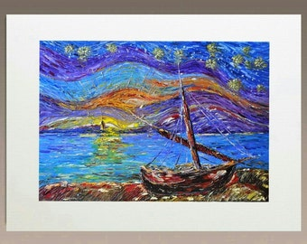 Art Print  - Sailing Boat at Twilight