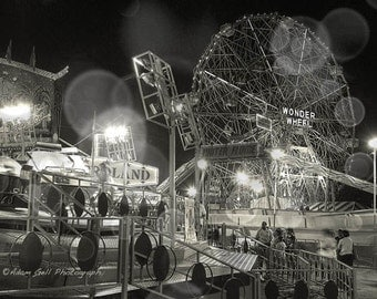 Coney island Photography, black and white,cyclone, roller coaster, Brooklyn New york, Summer, nigh photography, Wonder Wheel