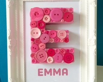 Pink Buttons Letter, Button gift, Name gift, new baby gift, newborn gift, birthday gift, christening gift, baby shower gift, nursery decor