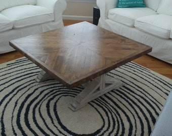 Coffee table, rustic coffee table,  distress white coffee table