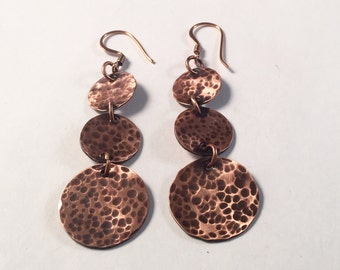 Copper, Earring, Hammered, Drop