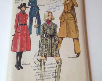 Vintage 1970 Cut Sewing Pattern Simplicity 8975 Misses Wrap Coat and Trousers Size 10 Bust 32 1/2 Waist 24
