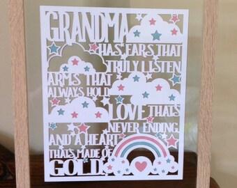 Grandma - Paper Cut Layered in Floating Frame