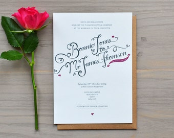 Calligraphy Style Wedding Invitation with Pink Hearts - Sample bundle