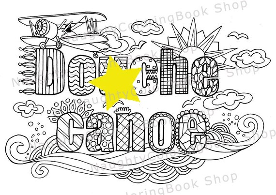 Douhe Canoe Swear Words Printable Coloring Pages Word Swearing Book Adult