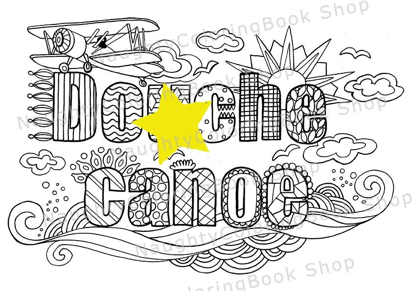 Douhe Canoe Swear Words Printable Coloring Pages