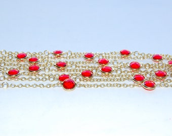 "2 Metres(6'6"" ) Long Gold Plated Chain With Faceted Red Color Glass Beads"