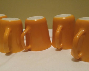 Vintage Sunflower Mustard Yellow Corning Ware Coffee Mugs Cups Set of Five Pyrex Diningware