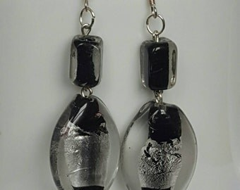 Handmade black and silver vintage style dangle earrings