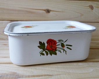 Vintage Kitchen accessories Kitchen storage container 70s Gift for mom enamel white bowl with lid Made in Soviet Union bowl Metal dishes