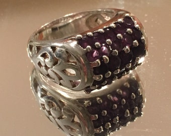 Heavy Sterling Silver and Amethyst Ring ~ Make a Statement!