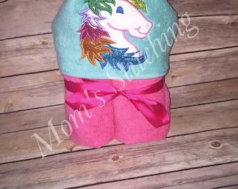 Unicorn hooded towel